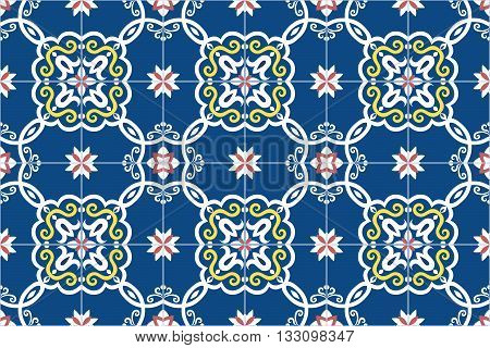Traditional ornate portuguese and brazilian tiles azulejos in blue, yellow and pink. Spanish talavera tiles. Vintage pattern. Abstract background. Vector illustration, eps10.
