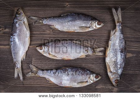 Dry fish on a wooden background close up