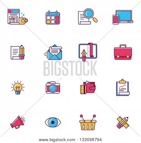 Vector linear icon set representing typical web page symbols and metaphors