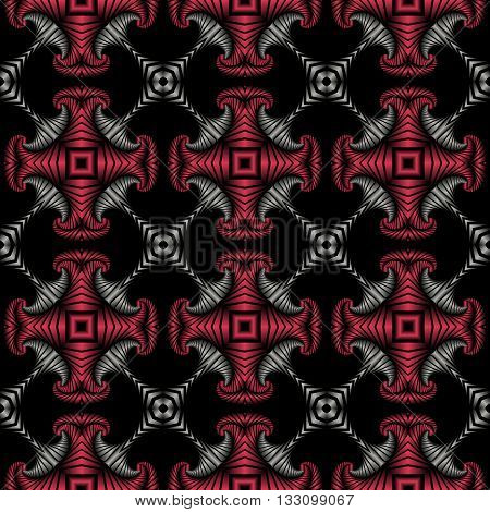 Abstract deluxe seamless pattern with stainless steel and cherry metallic decorative elements on black background