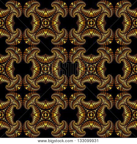 Abstract superior seamless pattern with golden decorative ornament on black background