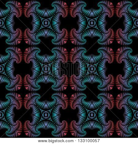 Abstract deluxe seamless pattern with colorful metallic decorative ornament on black background