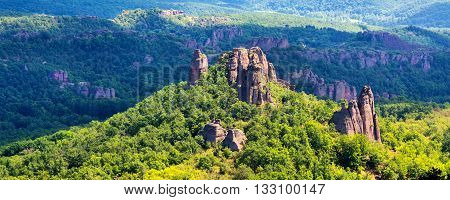 Landscape panorama with high cliff rocks, near Belogradchik, Bulgaria