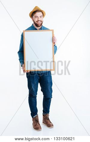 Close-up of man hands showing white blank board isolated on the white background