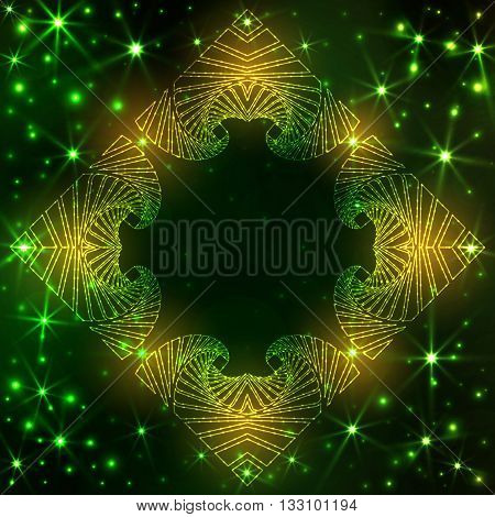 Abstract neon decorative frame on dark green gradient background with yellow and green glittering stars and lights