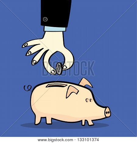 Hand and arm in a business suit dropping a silver coin into a pink piggy bank on a blue background with copy space