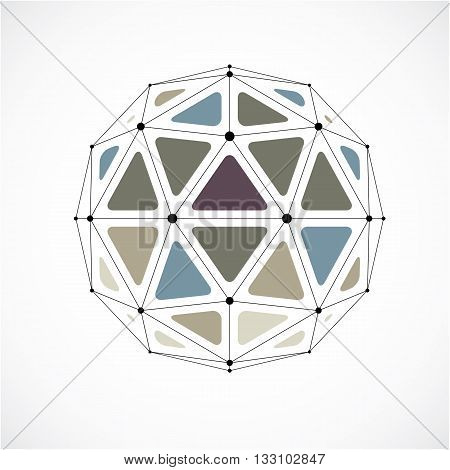 Abstract Vector Low Poly Object With Black Lines And Dots Connected. 3D Origami Futuristic Form With