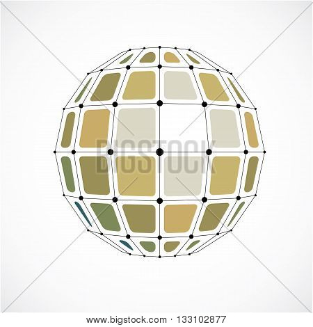 Perspective Technology Shape With Black Lines And Dots Connected, Polygonal Wireframe Object. Abstra