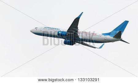 Moscow Region - June 4 2016: A large passenger plane Boeing 737-8LJ airlines Victory with the inscription
