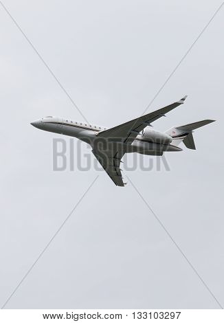 Moscow Region - June 4 2016: beautiful Airliner Bombardier BD-700-1A10 Global 6000 takes off at Vnukovo airport on a clear day June 4 2016 Moscow Region Russia