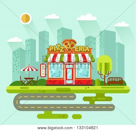 Vector flat style illustration of City landscape with nice pizzeria shop building, street with road, bench, trees, umbrella, table and chair. Signboard with slice of pizza in heart shape.