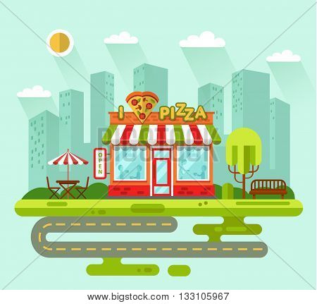 Vector flat style illustration of City landscape with nice pizzeria shop building, street with road, bench, trees, umbrella, table and chair. Signboard with slice of pizza in heart shape. Love pizza.