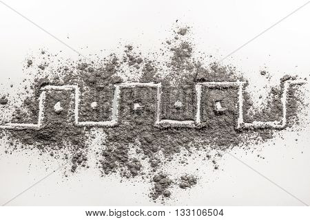 Greek meandar zigzag shape drawing symbol made in chaos ash dust dirt