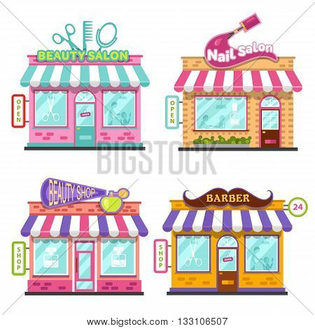 Set of different nice shops with beautiful signboards: beauty salon, barber shop, beauty shop or store, nail salon. Flat vector illustration stock set. Infographic elements.