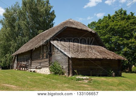 Traditional Latvian house made out of wood and reeds