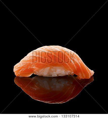 Salmon Sushi Nigiri Over Black Background
