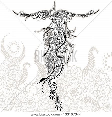 Illustration of flying Phoenix Bird. Peacock with spread wings in mehndi style. Vector template for tattoo.
