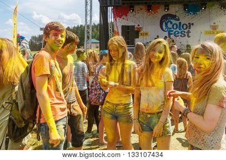 GRODNO BELARUS - May 28 2016: The annual holi festival of colors ColorFest in Grodno Belarus