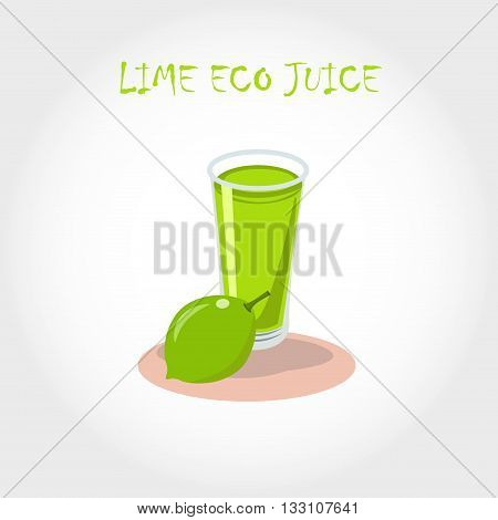 Glass Of Bio Fresh Lime Juice. Vector Illustration. Text Title.