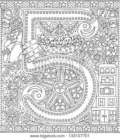Adult Coloring Book Poster Number Five 5 Black and White Vector Illustration Alphabet Letter Wall Art