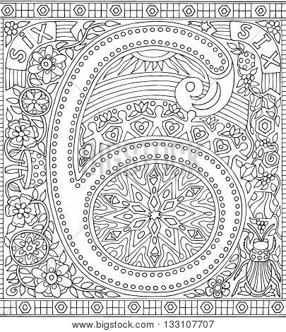 Adult Coloring Book Poster Number 6 Six Black and White Vector Illustration Alphabet Letter Wall Art