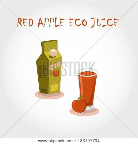 Glass Bio Fresh Red Apple Juice. Vector Illustration. Text Title.
