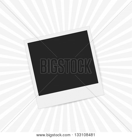 Vector photo frame in vintage stryle on striped retro background.