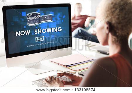 Now Showing Announcement Entertainment Time Concept