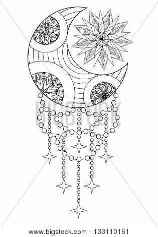 Bohemian Moon and Sun, Hand drawn Zentangle Moon and Sun for adult antistress coloring pages, art therapy, ethnic patterned t-shirt, Boho tribal style. Doodle Illustration, henna tattoo design. A4.