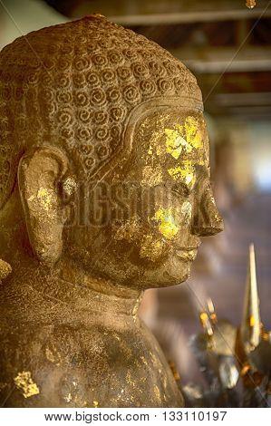 Buddha image at Wat Phra That Luang landmark of Lao PDR in Vientiane
