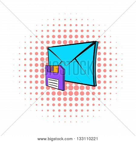 Save e-mail icon in pop-art style on dotted background. Internet and message symbol