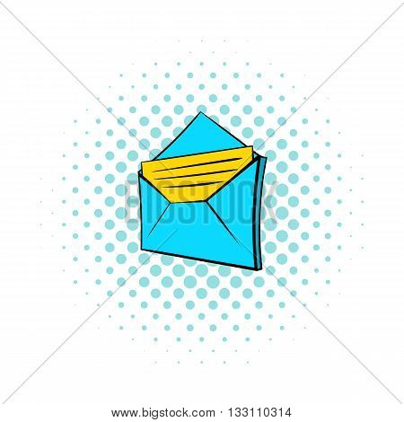 Open e-mail icon in pop-art style on dotted background. Internet and message symbol