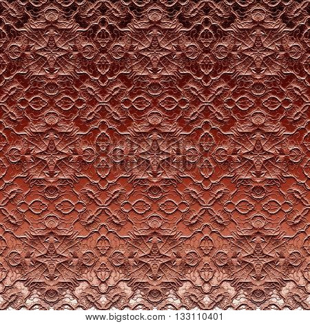 Ornamental embossed sanded brown glass pattern on window made seamless
