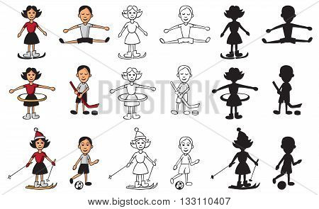 icons and silhouettes on the theme of sport with a boy and a girl