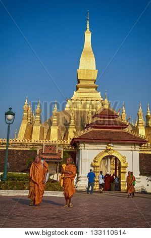 VIENTIANE LAOS - JANUARY 19 2012: Wat Phra That Luang - landmark of Lao PDR in Vientiane