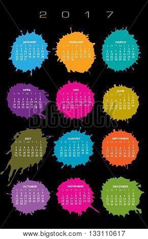 2017 Creative colorful splatter calendar for print or web