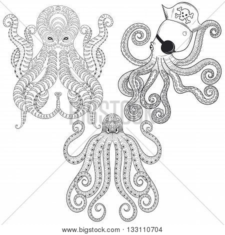 Tattoo Octopus set. Hand drawn zentangle tribal Octopuses for adult anti stress coloring pages, ethnic t-shirt print. Boho, bohemian style. Isolated illustration in doodle, henna tattoo design.