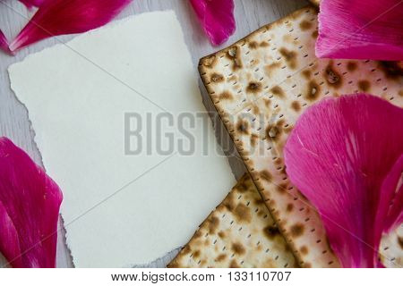 Matzo or matzah bread traditionally eaten by Jews during the week-long Passover holiday