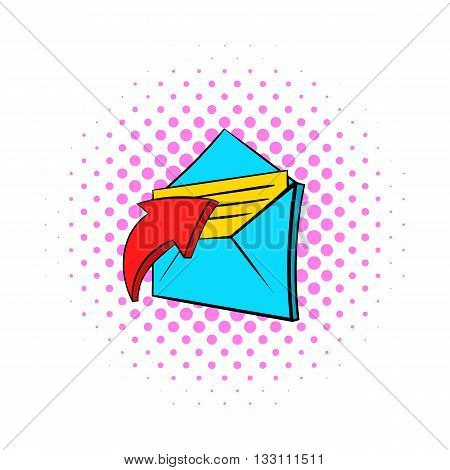E-mail message icon in pop-art style on dotted background. Internet and message symbol
