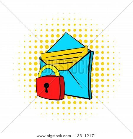 Protected e-mail icon in pop-art style on dotted background. Internet and message symbol
