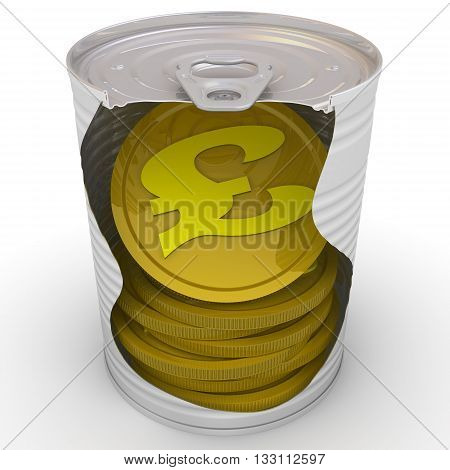 Gold coins of the British Pound Sterling inside a tin can. Cash reserve funds. Concept. Isolated. 3D Illustration