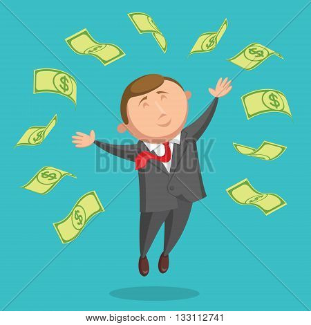Happy and contented businessman dressed in gray suit and with red tie is jumping among the dollars, arms are outstretched at the sides, on blue background. Success in business and income concept