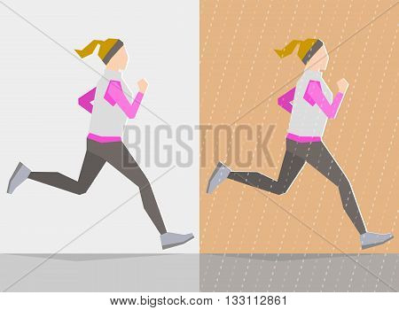 Running girl dressed in autumn clothes on gray background and background with autumn seasonal elements. Running at any season and healthy lifestyle concept