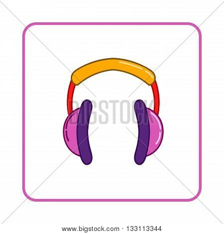 Headphones icon in simple style on white background. Device symbol