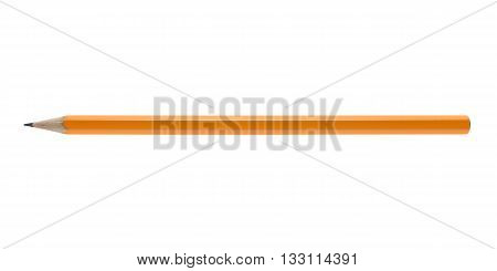 Yellow wooden pencil isolated on white background