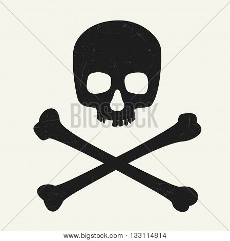 Skull and crossbones. Vector illustration symbol of danger.