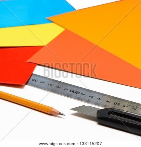 Stationary equipment work in office. pencil, ruler and knife