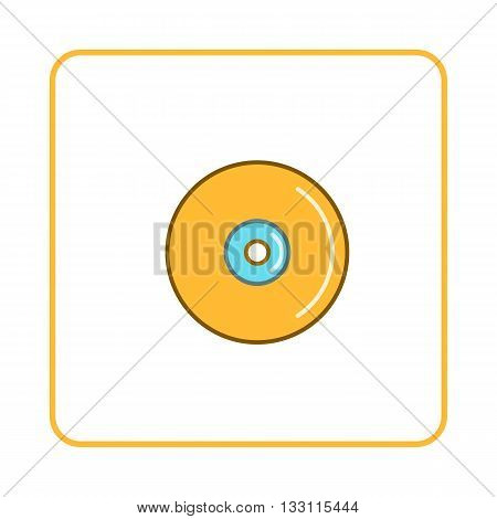 Disk icon in simple style on white background. Device symbol