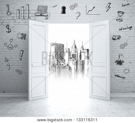 Brick wall with business sketches and open door revealing architectural drawing. 3D Rendering