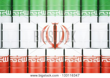 Stacked oil barrels with Iranian flag on them. 3D Rendering